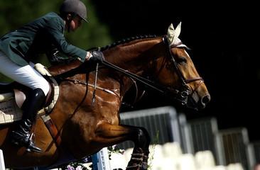 Foto op Plexiglas Paardrijden jumpnig