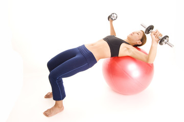 fitball dumbell press 1