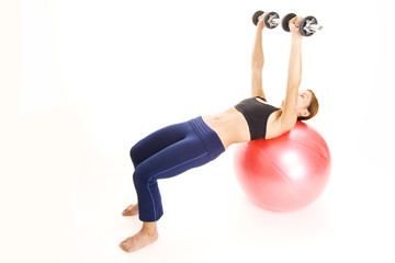 fitball dumbell press 2