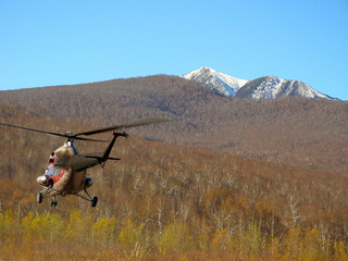 helicopter ride above forest wilderness