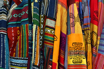 multicolored mexican embroidered ponchos