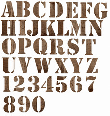 material alphabet:  burlap