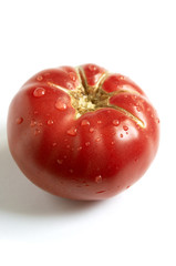 juicy tomato with droplets