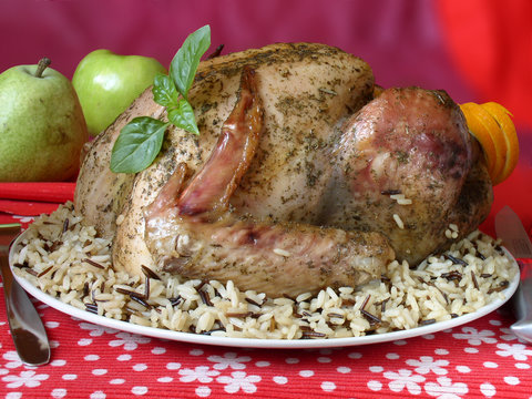 turkey with  rice and basil,stuffed fruits