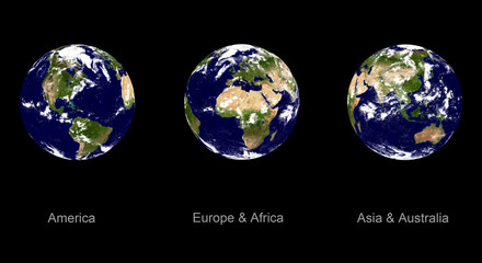 earth planet, three angles
