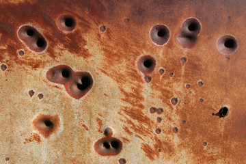Wall Mural - rusting bullet holes background