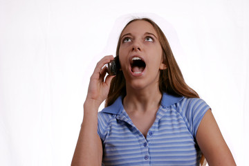 teen girl yelling on phone