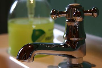 hot tap, basin and liquid soap