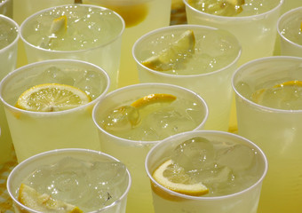 closeup view - cups of lemonade