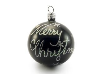 merry christmas on black glass ball