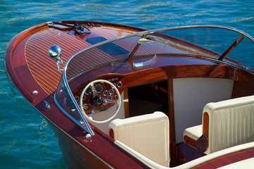 wooden luxury tender at monaco