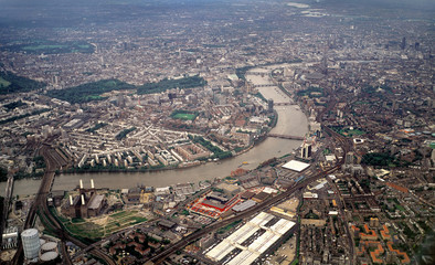 london from the air, looking east