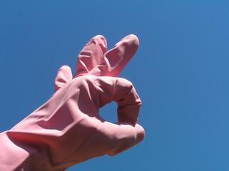 pink rubber glove – ok sign