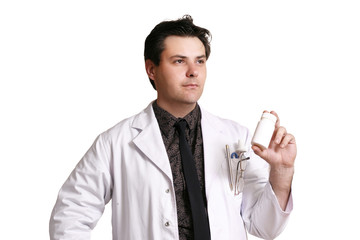 doctor or pharmacist with a product