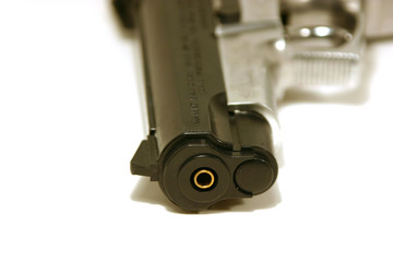 up close on a gun