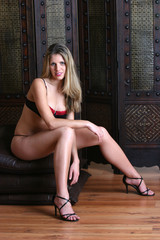 woman sitting in her lingerie