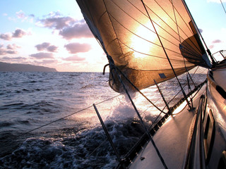 Photo sur Plexiglas Voile sailing to the sunrise