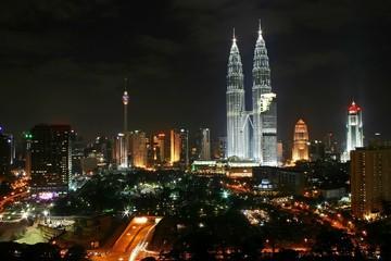 Fotorolgordijn Kuala Lumpur kuala lumpur city night scene
