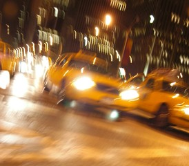 Foto auf AluDibond New York TAXI manhattan taxi hectic