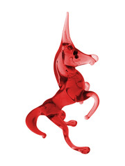 red glass unicorn
