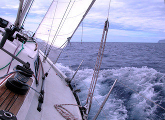 sailing with wind in the ocean
