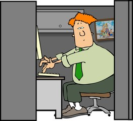 man in a cubicle