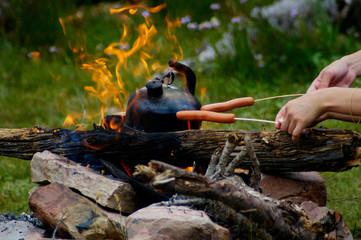 Deurstickers Picknick campfire picnic