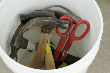 tools in a bucket