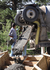 pouring concrete,