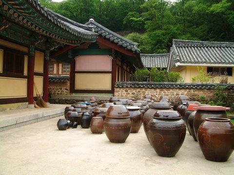 kimchi jars, songgwangsa temple, jeollanam-do province