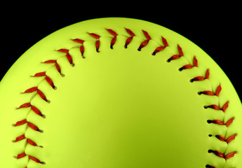 yellow softball, centered