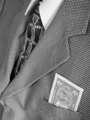 dollar bill in business suit