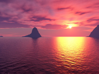 ocean sunset rendering