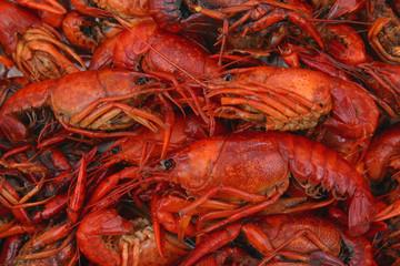 Door stickers Seafoods boiled crawfish closeup in pot