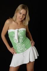 pretty blonde girl in cute summer dress