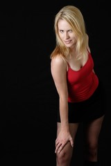attractive woman in sexy red attire