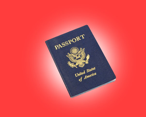 passport, with red background