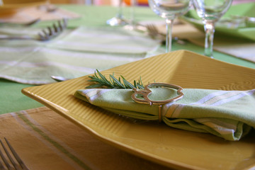 yellow plate in a table