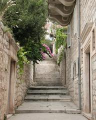 view of a narrow alley in split, croatia