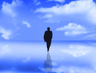 businessman with reflection