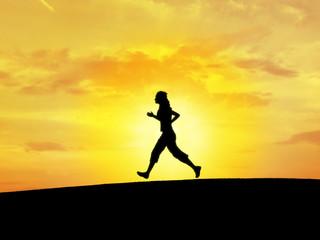girl runing (silhouette)