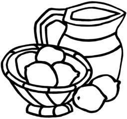 a bowl of lemons and a jug