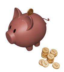 piggy bank with pound coins