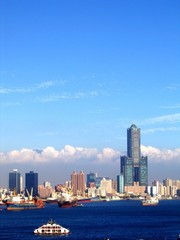 view of kaohsiung harbor in taiwan