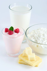 milk, yogurt, cheese, cottage cheese