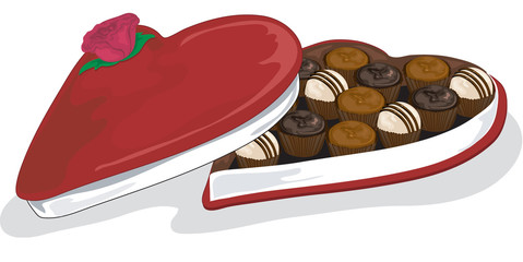 vector valentine and assorted chocolates