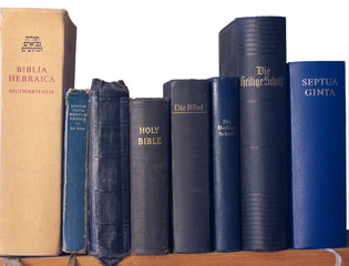 shelf of bibles