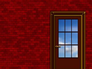 interior sketch, blue sky beyond the door