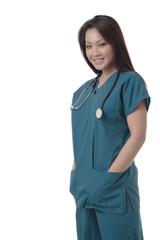 attractive asian nurse in scurbs