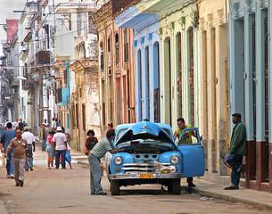 Türaufkleber Autos aus Kuba stalled in havana